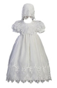 White Embroidered Organza Christening Baptism Gown with Bonnet by Lito