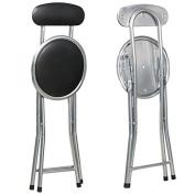 Tinxs Black Round Padded Folding High Chair Breakfast Kitchen Stool Soft Seat Capacity 120kg