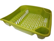 Whitefurze Dish Drainer, Plastic, Leaf Green, Large