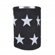Black Jute Laundry Hamper Bag With White Star Print Aluminium Handle 50cm Tall