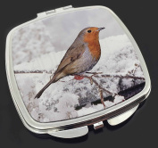 Winter Robin on Snow Branch Make-Up Compact Mirror Stocking Filler Gift