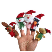 Finger Puppets Toy, Malltop 5pc Christmas Santa Claus and Friends Story Telling Finger Puppets Toy
