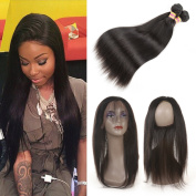 Ariel Hair brazilian virgin hair with closure straight 360 lace frontal with bundles african american hair extensions