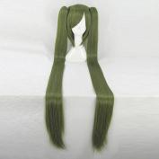Danganronpa 3 Monaka Dark Green Straight Cosplay Wig + Two 120cm Ponytails