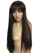 Namecute Black Mixed Brown Wig Long Straight with Bangs Full Cap Synthetic Wigs Natural Hair for Women