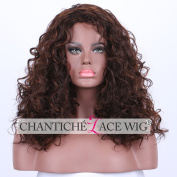 Chantiche Fashionable Mixed Colour Synthetic None Lace Hair Wigs for Christmas Natural Curl Brown Synthetic Wig for African Americans
