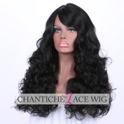 Chantiche Wavy None Lace Right Parting Synthetic Wigs Full Machine Made Black Synthetic Hair Wig with Side Parting for African Americans