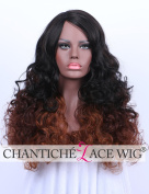 Chantiche Cheap Ombre Black to Brown Curly Non Lace Wigs for Black Women Heat Resistant/Friendly Synthetic Hair Wig for African Americans