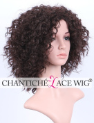 Chantiche Natural Looking Brown Short Curly Non Lace Wigs with Baby Hair Heat Resistant/OK Synthetic Hair Machine Made Wig for Black Women