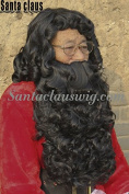 ZM Hair Dense Synthetic Santa Claus Machine Made Beard Wig and Hand Hooking Moutache Set