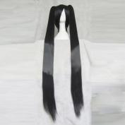 Hyperdimension Neptunia Noire Black Straight Cosplay Wig + Two 120cm Ponytails