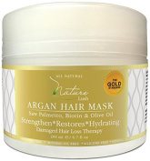 Nature Lush Argan Hair Mask with Saw Palmetto, Biotin and Olive Oil - Deep Conditioner - Restore Dry, Damaged or Colour Treated Hair, Best for All Hair Types - Parabens & Silicones Free - 200ml
