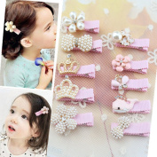 One Colour Clips with 10 Pcs Different Style of Baby Girl Ribbon Boutique Hair Flower Bows Alligator Clips Fashion Hair Accessories