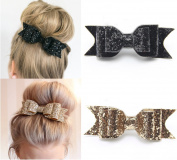 Fireboomoon 2 Pack Glitter Satin Big Bow Hair Clip Barrette Accessory For Girls and Women