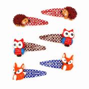 Lovely Animal Hair Clip Mini Cartoon Owl and Fox Hedgehog Hair Clip Set Little Girl Hair Accessory BB clips