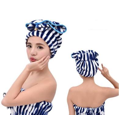 Scala New Cute Shower Caps Textile Microfiber Hair Turban Quickly Dry Hair Hat Wrapped Towel Bath (Blue)