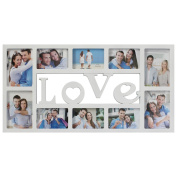 Nex® Photo Frame Wood Love Picture Frame Wall Hanging Rahmen Portable 10 Phonoes 3D Style Decorative Collage Picture Frame