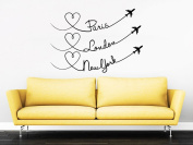 Dnven Quotes (60cm w x 41cm h) Paris London New York City Flight Planes Graphic Words Wall Door Glass Decals Stickers Removable Vinyl Arts for Children's Day Bedrooms Family Playroom Classroom Nursery