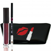 Matte Lip Kit By Dollup Beauty - Set Includes Liquid Matte Lipstick & Smoothing Lip Liner w/ Handcrafted Silhouette Cosmetic Bag (Kit