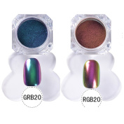 NICOLE DIARY 2 Colours/Set Nail Art Chameleon Chrome Powder Shinning Mirror Effect Glitter Powder Nail Manicure DIY Decoration