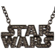 Star Wars Text Logo Gun Metal Rhinestones Unisex Necklace Rock Rebel Licenced