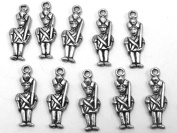 Set of Ten (10) Silver Tone Pewter Toy Soldier Charms