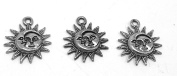 Set of Three (3) Silver Tone Pewter Sun and Moon Charms