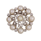 Hosaire Girl's Delicate Pearl Flowers Brooch Pin With Rhinestones Women's Fashion Jewellery