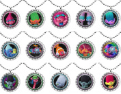 15 TROLLS Flat Bottle Cap Necklaces for Birthday, Party Favours, Bag Fillers Set 1