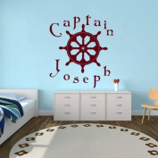 Personalised Name Wall Decal Boy Sea Theme Kids Ship's Helm Vinyl Decal Sticker Home Decor Living Children's Baby Room Nursery ML249