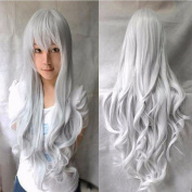 80cm Silvery Grey Curly Cosplay Wigs Full Head Hair Wig Grade 7A Heat Resistant Hair Fall for Halloween Costume Party UPS Post