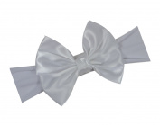 Satin Bow Baby Headband By Funny Girl Designs - Fits Newborn to 1 Year