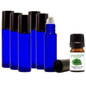 10ml Glass Roll on Bottles STAINLESS STEEL ROLLER (Pack of 6), + 5ml Greenhealth Peppermint Oil