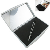 Magnifying Mirror 10x Stainless Steel Tweezer Precision Magnification Compact !