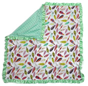 Dear Baby Gear Baby Blankets, Bright Feathers on White, Mint Green Minky