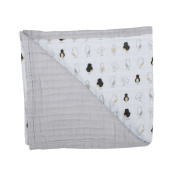 Bebe au Lait Luxury Oh-So-Soft Muslin Snuggle Blanket, Pipit/Pebble