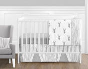 Grey and White Woodland Deer Baby Boys 11 Piece Crib Bedding Set without Bumper