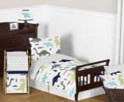 Navy Blue and Green Modern Dinosaur Boys or Girls Piece Toddler Bedding Comforter Sheet Set