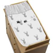 Grey and White Woodland Deer Boys Baby Changing Pad Cover
