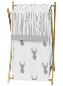 Baby Children Kids Clothes Laundry Hamper for Grey and White Woodland Deer Bedding Set