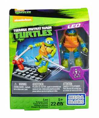 Mega Bloks Teenange Mutant Ninja Turtles Leo Katana Swat Building Playset