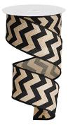 Chevron Wired Edge Ribbon (6.4cm , Black Burlap Linen) - 10 Yards : RG102502