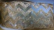 Glitter Gold Chevron Sheer Ribbons - 6.4cm Wide - 3 Yards