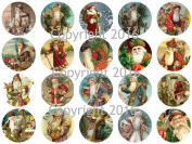 Assorted Vintage Santa Circles Christmas 3.8cm Circles Collage Sheet #3