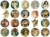 Victorian Vintage Angel 3.8cm Circles #103 Collage Sheet 22cm x 28cm