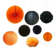 Since Halloween Series Halloween Decoration Orange and Black Honeycomb Balls With Paper Flower Tissue Pompoms , Tissue fans , Paper lanterns Halloween Accessory Party Decoration Kit ,Pack of 8