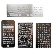 Trycooling 4 In 1 Stainless Steel Portable Drawing Graffiti Web UI/IOS/Number Alphabet Template Ruler Stencils