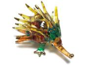 TINY CRYSTAL Echidna HAND BLOWN CLEAR GLASS ART porcupine Echidna FIGURINE ANIMALS COLLECTION GLASS BLOWN FBM