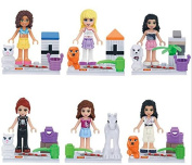 GIRL'S BRICK TOYS STEPHANIE MIA EMMA OLIVIA ANDREW with Pet MiniFigures Toy Series Action Figure Building Blocks Set Compatible Lego