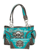 Western Rhinestone Skull Concealed Carry Handbag and Wallet Turquoise